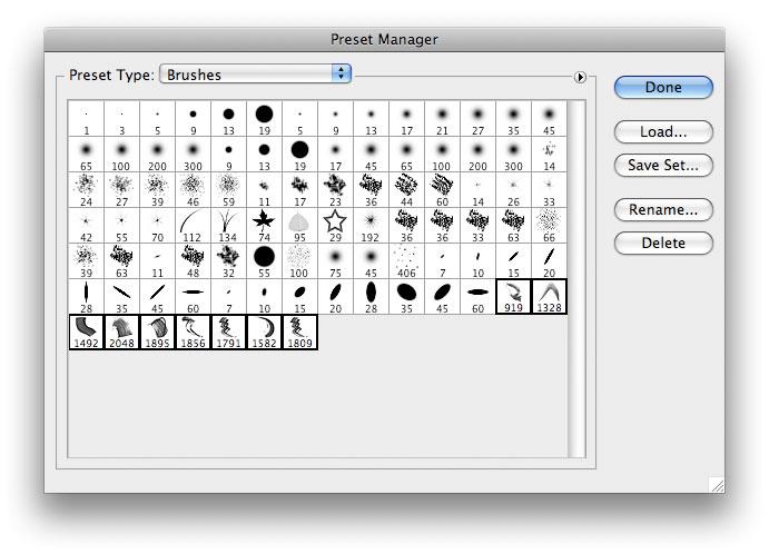 Brush preset manager